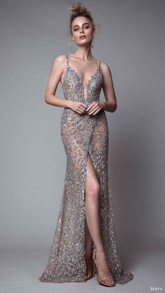 Sexy Spaghetti Straps Mermaid Prom Dresses Gray Sequins Lace Long Evening Dress Slit Prom Gowns For Teens Gown
