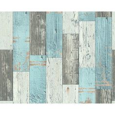 Faro 4 Wood Effect Wallpaper in Teal / Brown by A S Creation 96246-1