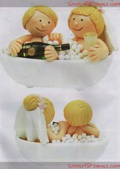 Wedding couple in a tub cake topper by ariana | TUTORIALS ...