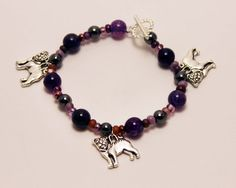 Purple Bead Stretch Bracelet with Pug Dog Charms by ThisPugLife, $10.00