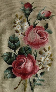 Preworked Handmade Needlepoint Tapestry FLORAL Petitpoint Canvas by Poman International, Inc. Purchased my needlepoint canvases in the mid Cross Stitch Rose, Cross Stitch Borders, Cross Stitch Flowers, Cross Stitch Charts, Cross Stitch Designs, Cross Stitching, Cross Stitch Patterns, Rose Embroidery, Cross Stitch Embroidery