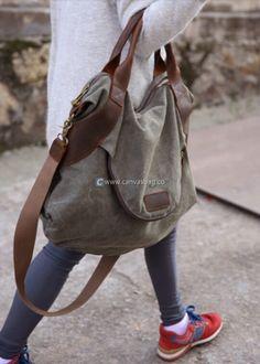 Large Capacity Shoulder Bag Leather Canvas Bag (6) Canvas Shoulder Bag, Leather Shoulder Bag, Hobo Bag, Travel Bags, Suede Leather, Designer Handbags, Fashion, Log Projects, Travel Handbags