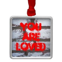 """You are Loved"" Graffiti Bricks Square Metal Ornament"