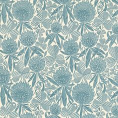 Clover fabric by Angie Lewin, available in three colourways. From our range of Angie Lewin's fabrics, wallpapers and cushion covers. Fabric Wallpaper, Pattern Wallpaper, Design Art, Print Design, Angie Lewin, Nature Prints, Wood Engraving, Print Artist, Surface Pattern Design