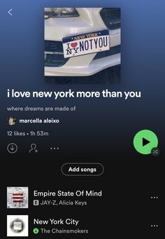 New York Life, Nyc Life, Playlist Ideas, Spotify Playlist, Empire State Of Mind, Chainsmokers, Mood Songs, City That Never Sleeps, City Aesthetic