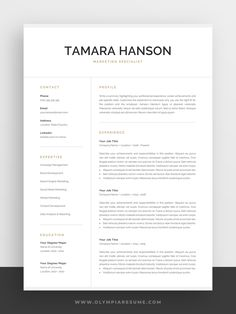 Professional Resume Template for Word & Pages Template Cv, Creative Cv Template, One Page Resume Template, Modern Resume Template, Cv Simple, Simple Resume, Portfolio Web, Portfolio Layout, Portfolio Design