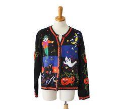 Vintage 80s Halloween Cardigan Sweater - Women L - Novelty, ghosts, cat, pumpkin, Designers Studio Original by bluebutterflyvintage on Etsy