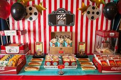 Movie themed party...a must in our Home Theater! Add pizza, soda, more candy and tons of other sweets!