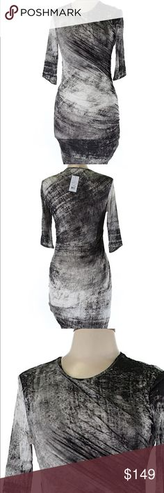 Helmut Lang printed dress Helmut Lang printed grey marble dress. Ruching at side. Body conscious silhouette. But is 34 in. Length is 37 in.  100% viscose. Dry clean only. New with tags attached. No signs of wear or flaws. Ships within one week Helmut Lang Dresses