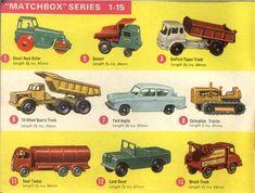 Matchbox Lesney 1964 catalog regular wheels 1, 2, 3, 6, 7, 8, 11, 12, 13