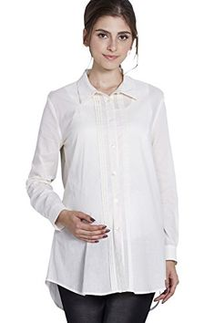 Sweet Mommy Maternity and Nursing Pintuck Detail Shirt WhiteL *** See this great product.Note:It is affiliate link to Amazon.