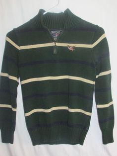 AMERICAN LIVING Boy's Sz M (12-14) Thick L/S Sweater 1/4 Zip Hunter Green Stripe #AmericanLiving #Pullover #Everyday