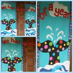 This end-of-the-year display is striking and easy to make! Why not your kiddos sign the bubbles? Classroom Bulletin Boards, Classroom Door, Classroom Themes, Classroom Activities, Preschool Themes, Preschool Crafts, Preschool Bulletin, Kindergarten Units, School Door Decorations