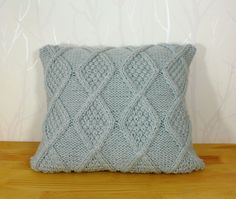 Cable knit pillow cover. Cable hand knitted pillow cover. Decorative pillow case by CreamKnit on Etsy