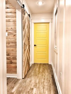 This barn door sets off the white board and Barton walls and yellow door House, Door Sets, Yellow Doors, Luxury, Barn, Luxury Homes, New Homes, Beautiful Homes, Barn Door