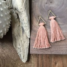 Copper Sky / Triangle Tassel Earrings / Peach Earrings /