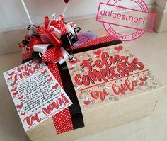 Hermosos detalles 💜 @dulceamor17 Hermosos y deliciosos desayunos, meriendas y anche... | Yooying Valentines Day, Presents, Gift Wrapping, Scrapbook, Goals, Lettering, Crafts, Color, Creative Gifts