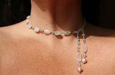 Pink Opal Aqua Pearls Oh My Necklace - hand wired drip it in back, side, tie in front, so many options - direct link http://shelbilavender.com/necklaces-2/8544867165_3ab7da3d38_z/# One of a kind