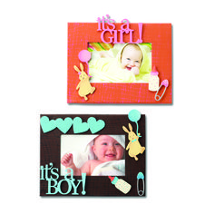Create custom frames for all occasions.  Change out colorful magnets and favorite photos for unique year round displays.  It's a Girl! and It's a Boy! from Embellish Your Story by Roeda.