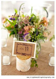 wedding wildflowers centerpiece | Birch tree stump & wildflower centerpiece | Wildflower weddings