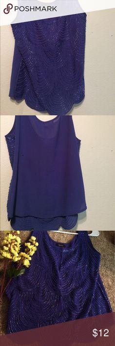 Dark purple beaded top Cute and fun beaded top. Gently beaded to accentuate your style. Perfect for day time time and night time :) verty Tops Blouses