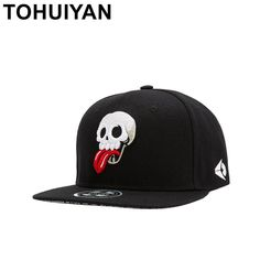 4e4d75af4619 TOHUIYAN Mens Funny Tongues Skull Embroidery Snapback Hats Street Dancing  Hip Hop Caps Flat Brim Baseball Hats For Women Girls.