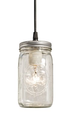 Ball Jar Pendant DIY lighting!!!  Gotta start drinking from small blue bottles...sake maybe?