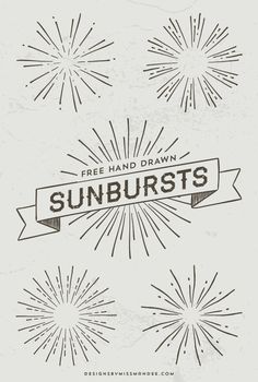 Totally rad, hand drawn sunbursts! Five sunburst motifs—great for logos, overlays, or badge designs. Spruce up your next design with some hipster flair!
