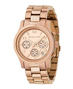 Michael Kors Watch, Women's Runway Rose Gold Plated Stainless Steel Bracelet 38mm MK5128 - For Her - Jewelry & Watches - Macy's