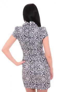 Платье темно-синее с белым узором А7593 Размеры: 42-56 Цена: 600 руб.  http://optom24.ru/plate-temno-sinee-s-belym-uzorom-a7593/  #одежда #женщинам #платья #оптом24