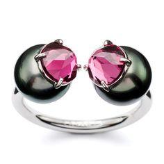 Refined Rebellion signature ring,  White Gold / South Sea pearl / black butterfly 9mm / rhodolite garnet (refined cut Rebellion)