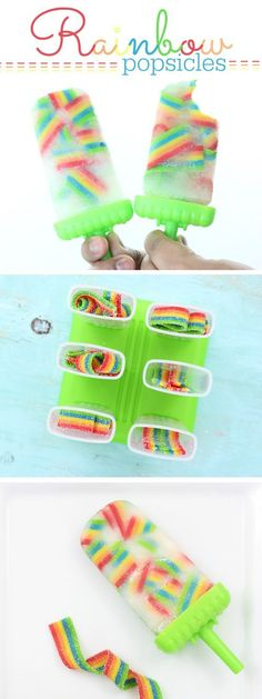 These taste SO good! So easy to make too. Just use Airheads Rainbow Candy for the cutest ice pop popsicles ever! (summer party snacks)
