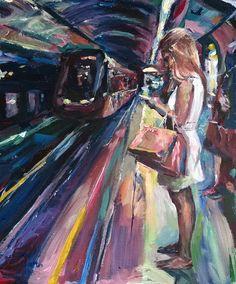 Original Painting collected artist Samuel Burton woman waiting for a tube train Tube Train, Acrylic Art, Painters, Art Projects, Waiting, Original Paintings, The Originals, Artist, Woman