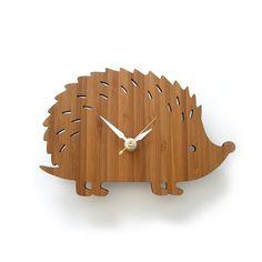 Wooden Hedgehog Clock Modern Baby Wall Clock por decoylab en Etsy