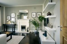 love the diagonal black stained wood floor Gray Interior, Interior Design, Staining Wood Floors, Paint Themes, Bodbyn, Grey Walls, Wall Colors, Interior Inspiration, Beautiful Homes