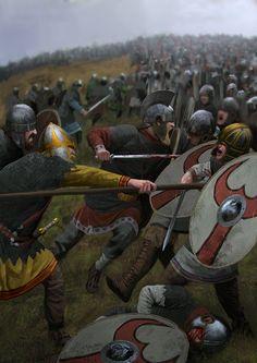 Año 357, batalla de Argentoratum (Estrasburgo) en la cual el futuro Emperador Juliano rechazó una importante incursión de alamanes, que perdieron miles de hombres y a su líder, prisionero. Cortesía de Milek Jakubiec.