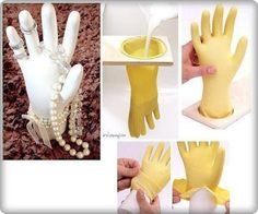DIY Hand-Shaped Jewelry Display using a rubber glove and plaster of paris