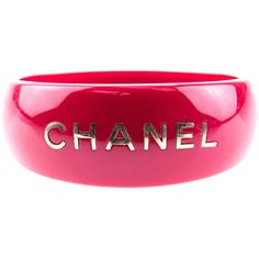 Pre-owned Chanel Red Resin Wide Logo Cuff Bangle ($395) ❤ liked on Polyvore featuring jewelry, bracelets, chanel jewellery, cuff bracelet, chanel bangles, logo jewelry and red bangles
