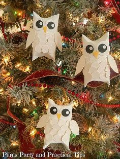 snow owl christmas ornaments, christmas decorations, crafts, seasonal holiday decor, Finished Snow Owl Ornaments