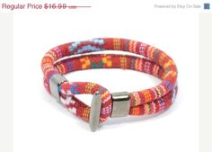 SALE red ethnic cotton cord bracelet  red fabric by CozyDetailz