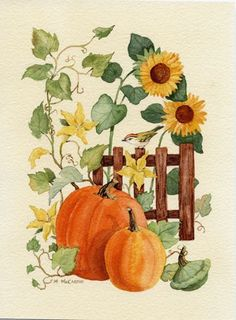 Pumpkin Vine--Beautiful art by Maureen McCarthy Fall Canvas Painting, Autumn Painting, Autumn Art, Painting On Wood, Canvas Art, Pumpkin Vine, Pumpkin Art, Arte Country, Autumn Scenes