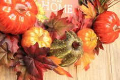 Front Door, Wreath, Pumpkin, Harvest, Bless This Home, Sign, Pumpkins, Gourd, Thanksgiving, Fall, Autumn, Decoration, Traditional, Classic