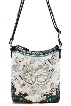 Boat Wheel, Sea Shells Print Design And Studs Accented Messenger Bag #GetEverythingElse #MessengerCrossBody