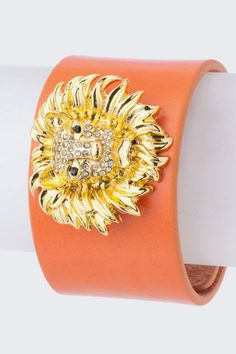 Here Kitty leather cuff in coral!  Hot for summer and available soon!  http://gaudygirls.kickofflabs.com/