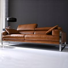 Genuine Italian Design Polished steel sled feet Available in a choice of fabric and leathers Ratchet Headrests Combining beautiful Italian design, built from th Living Room With Fireplace, Living Room Grey, Living Room Sofa, Bedroom Furniture Design, Sofa Furniture, Metal Furniture Legs, Modern Sofa Designs, Sofas, L Shaped Sofa