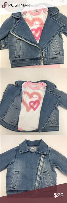Carter's Motorcycle Jean Jacket, Size 3 mo. This stylish little jean jacket by Carter's will definitely get your little girl noticed!  It is made of faded denim and distressed to give it even more of a modern look.  It is so cute you just can't help but smile!!  It is in like-new condition and comes from a smoke-free home.  Pair it with a girly dress or cute top and leggings and your little one will be the talk of the town! Carter's Jackets & Coats Jean Jackets