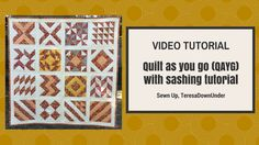 The Quilt As You Go with Wide Sashing Tutorial is great for beginner and experienced quilters alike. This video tutorial will demonstrate how to quilt as you go or QAYG. The quilt as you go technique is the easiest way to put together a quilt. Quilting For Beginners, Quilting Tips, Quilting Tutorials, Machine Quilting, Sewing Tutorials, Video Tutorials, Strip Quilts, Easy Quilts, Dear Jane Quilt