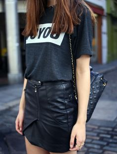 Leather skirt #fashion #details