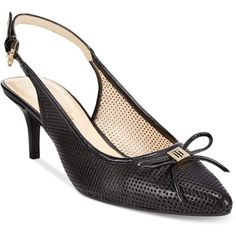 Tommy Hilfiger Janis Slingback Pumps ($79) ❤ liked on Polyvore featuring shoes, pumps, black multi, sling back pumps, black slingback pumps, tommy hilfiger shoes, pointed toe pumps and black shoes