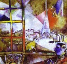 """Chagall, Pintor De Sonhos... """"Paris Através Da Janela"""", 1913-1914.Esta obra é uma homenagem à cidade que ele elegeu como sua segunda 'Vitebsk'.No interior,um personagem de dupla face e um gato com cabeça humana sentado no peitoril.Fora,a Torre Eiffel,um trem  de cabeça para baixo e um operário caindo de para quedas.Ainda assim,a soma das 'incongruências' é uma evocação romântica da cidade."""